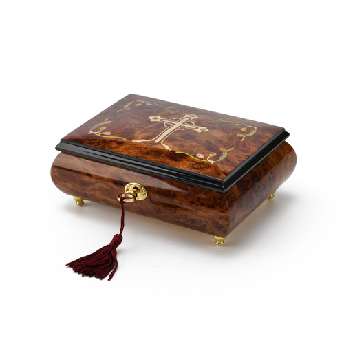 Holy Cross with Floral Motifs Wood Inlay 18 Note Musical Jewelry Box
