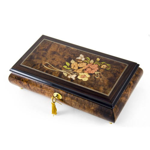 Gentle Roses with Rosewood Frame Musical Jewelry Box
