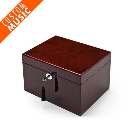 Spacious Modern Hi Gloss Coffee Finish USB Sound Module Music Jewelry Box