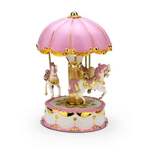 Adorable Pink and Gold Accented Animated Musical Carousel Keepsake