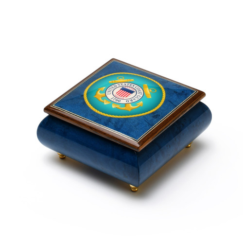 Hand Made in Italy United States Coast Guard Insignia Wood Inlay 18 Note Music Box