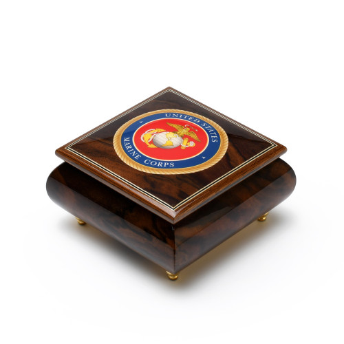 Handcrafted United States Marine Corps Insignia Wood Inlay 18 Note Music Box