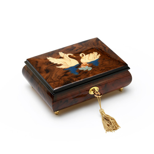 Gorgeous Handcrafted 18 Note Walnut Music Box with Swans Wood Inlay