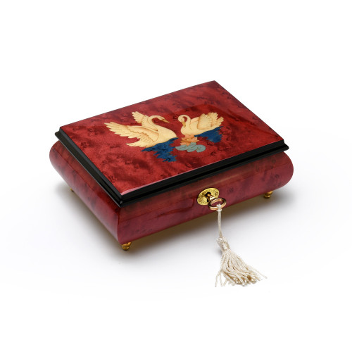 Radiant Handcrafted Italian 30 Note Red Wine Italian Music Box with Swans Wood Inlay