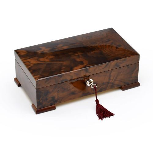 Handmade Walnut 18 Note Classic Italian Style Musical Valet / Watch Box