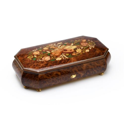 Burl-Elm Grand Italian 50 Note Sankyo Musical Instrument Theme Wood Inlay