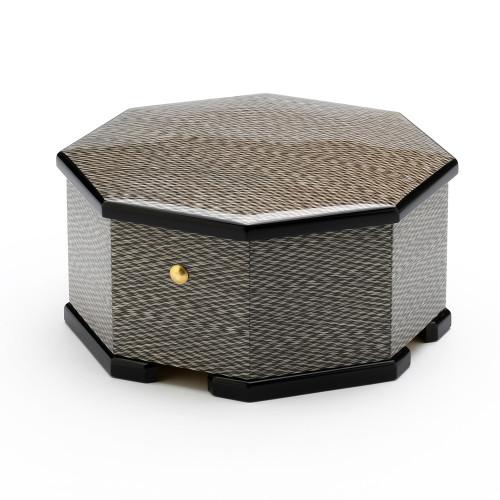 Handmade Modern Italian Design Wood Inlay Octagonal 18 Note Musical Jewelry Box