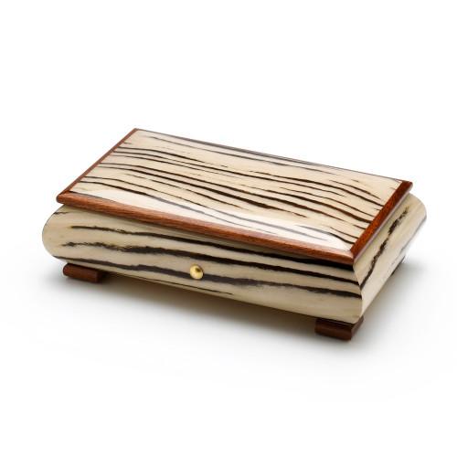 Brilliant Handcrafted Zebra Striped Italian Wood Inlay 18 Note Musical Jewelry Box