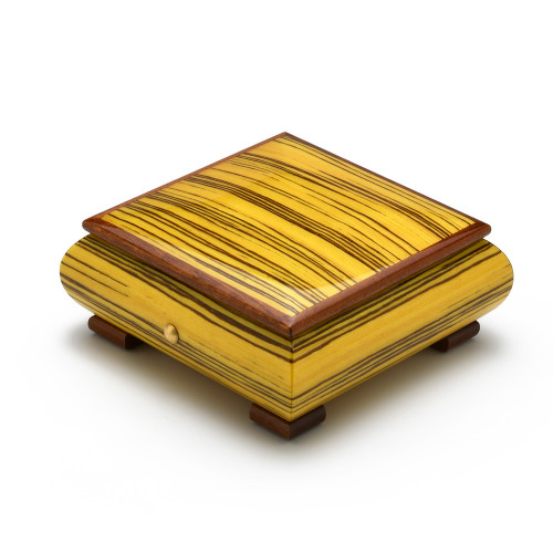 Brilliant Artistic Sunrise Inlay Handcrafted Italian 18 Note Musical Jewelry Box