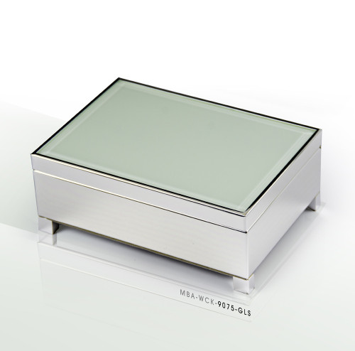 Contemporary 18 Note Beveled Glass Top Silver Musical Jewelry Box