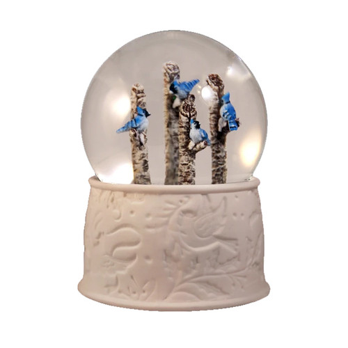 Blue Jays Perched Winter Snow Globe by San Francisco Music Box Co