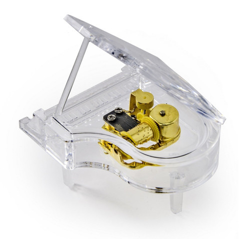 Clear Acrylic 18 Note Mini Grand Piano With Propped Lid