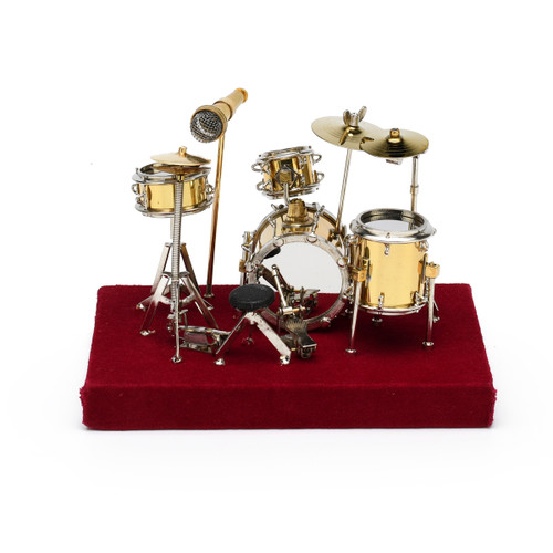 Exquisite Miniature Replica of a Complete Gold Drum Set with Case