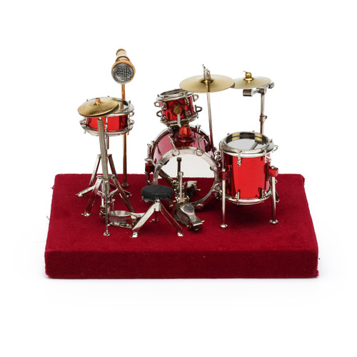 Amazing Miniature Replica of a Complete Red Drum Set with Case
