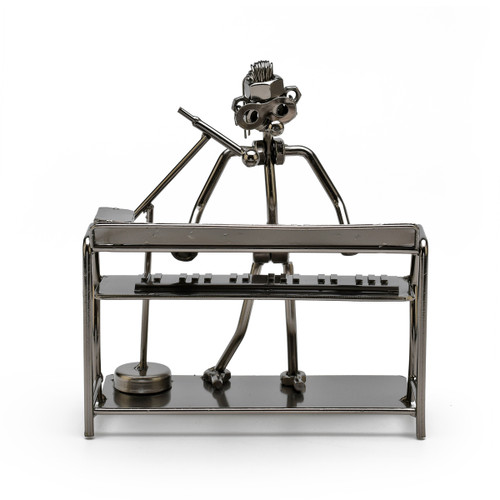 Handcrafted Metal Musician with Dual Synthesizers Figurine