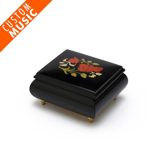 Custom Sound Module Digital Midnight Black Single Red Rose Musical Jewelry Box