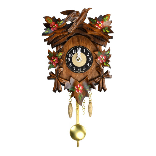Traditional Carved Black Forest Quartz Mini Cuckoo Clock with 5 Painted Flowers and Leaves