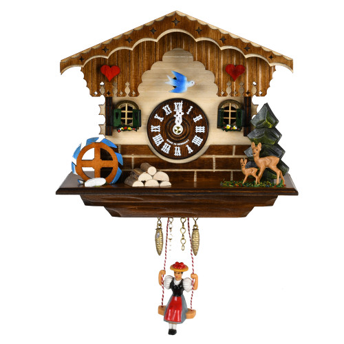 Black Forest Quartz Cuckoo Clock with Water Wheel and Deer