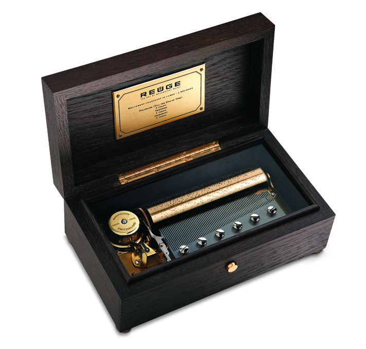 Reuge Raya 72 Note Grand Music Box Solid Chocolate Oak Finish