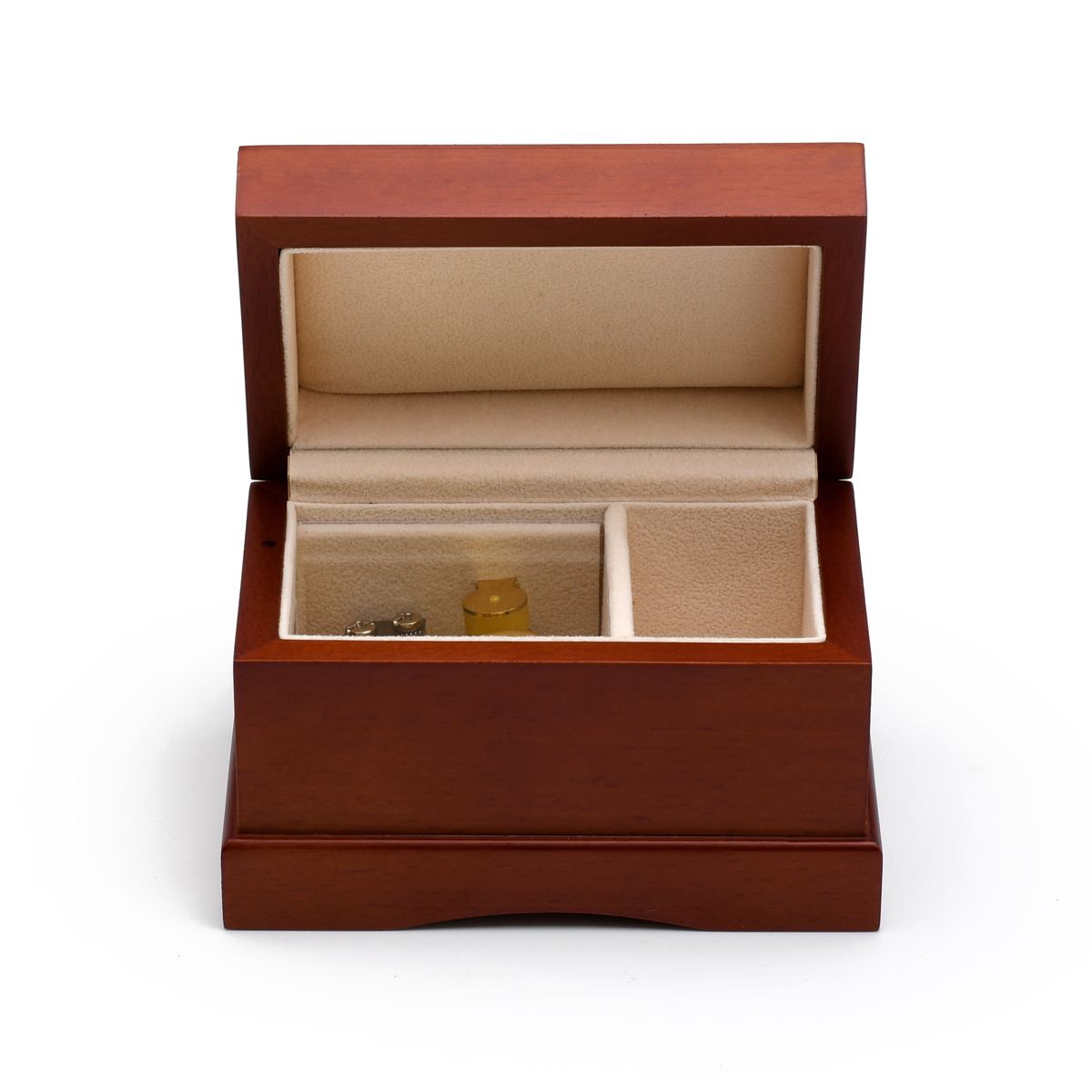 Matte Wood Tone Treasure Chest Simple 18 Note Music Ring Box BLOWOUT
