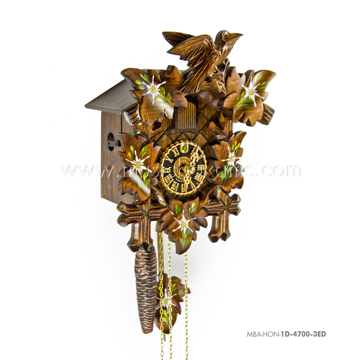 1 Day Black Forest Carved Cuckoo Clock with Hand Painted Edelweiss By Hones