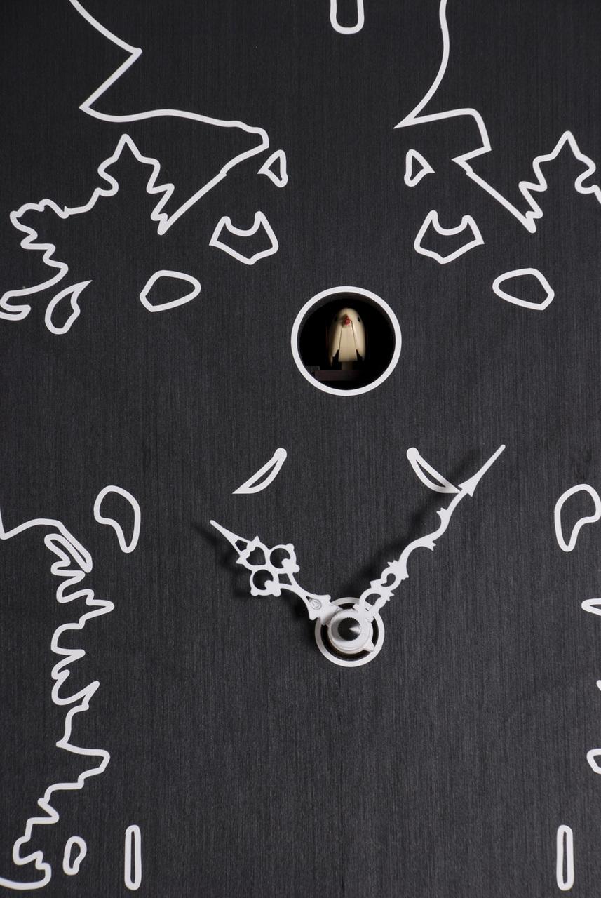 Modern Art White Outline on Ebonized Wood of a Traditional Cuckoo Clock - Cu_Cu by Progetti