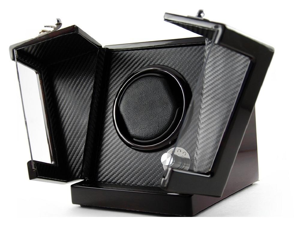 Modern Hi Gloss Rosewood Single Rotor Watch Winder 1 with Carbon Fiber Interior