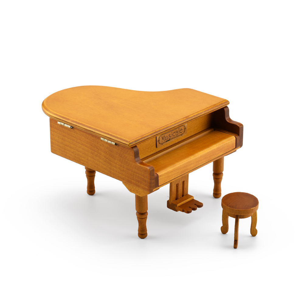 Incredible Wood Tone Miniature Replica of a Baby Grand Piano with Bench