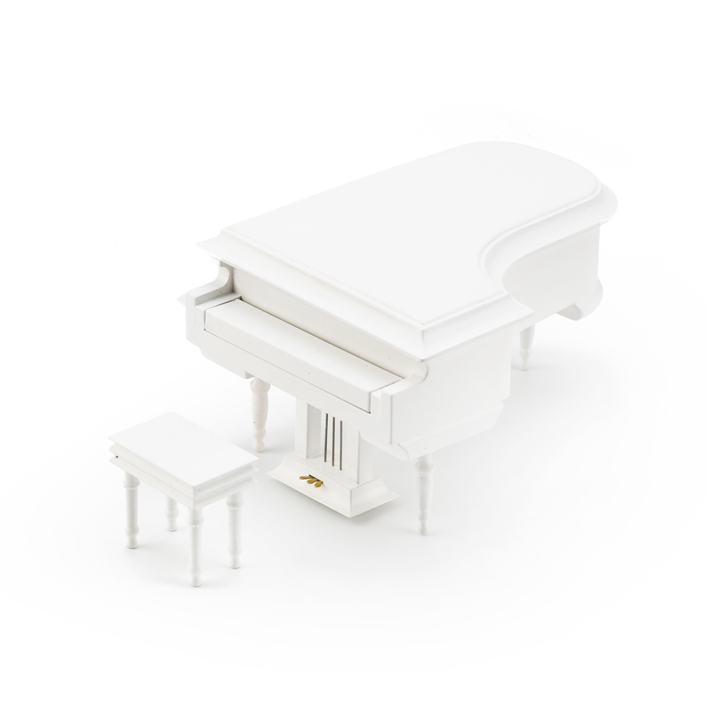 Sophisticated 18 Note Miniature Musical Hi-Gloss White Grand Piano with Bench