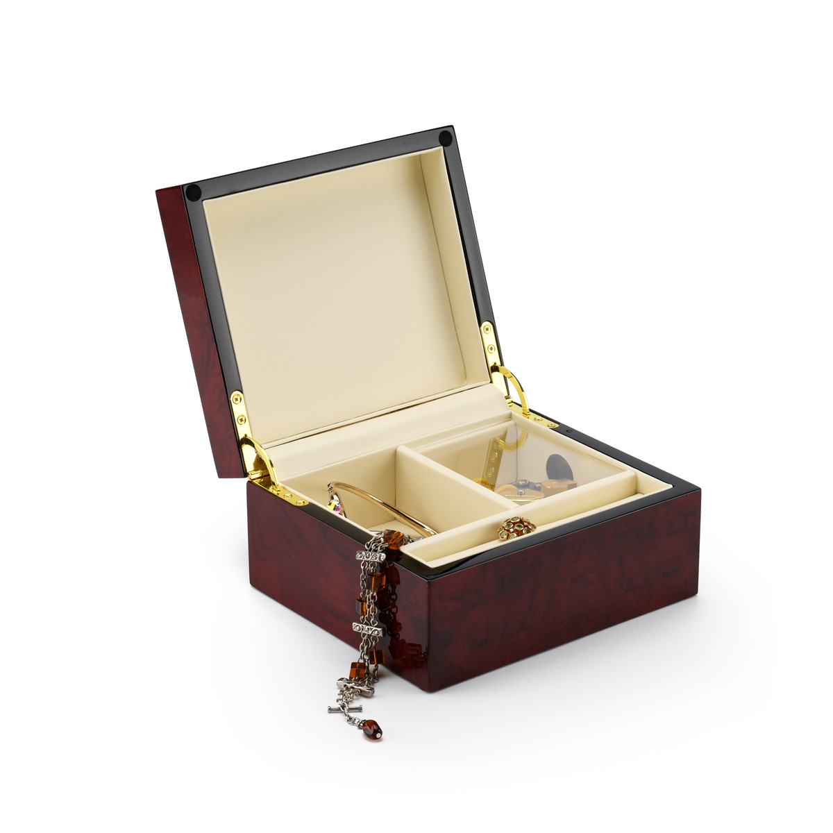 Modern Hi Gloss Burl Wood 3.6 LCD Video Jewelry Box