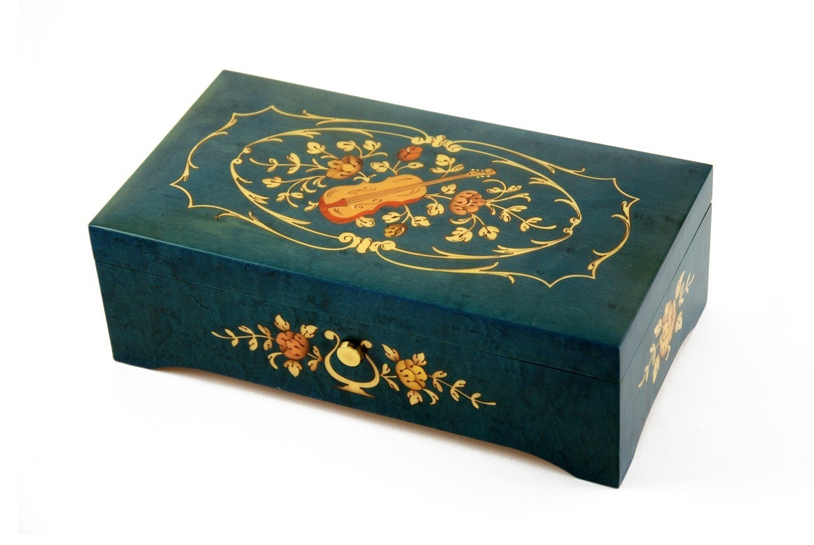 Vibrant 72 Note Blue-Green Music Box with Violin and Floral center in Ornament Frames Inlay