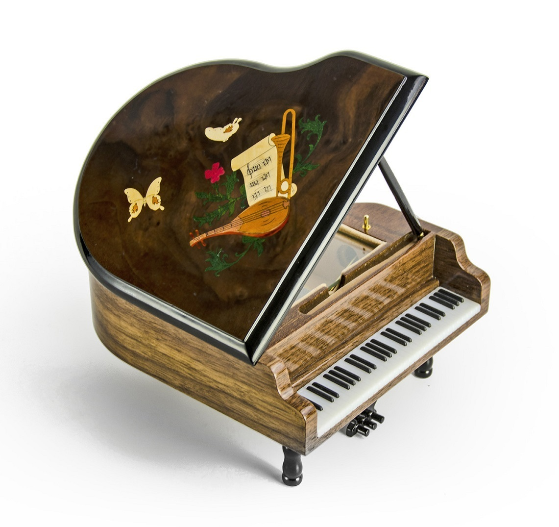 Gorgeous 18 Note Miniature Musical Grand Piano with Musical Theme Inlay