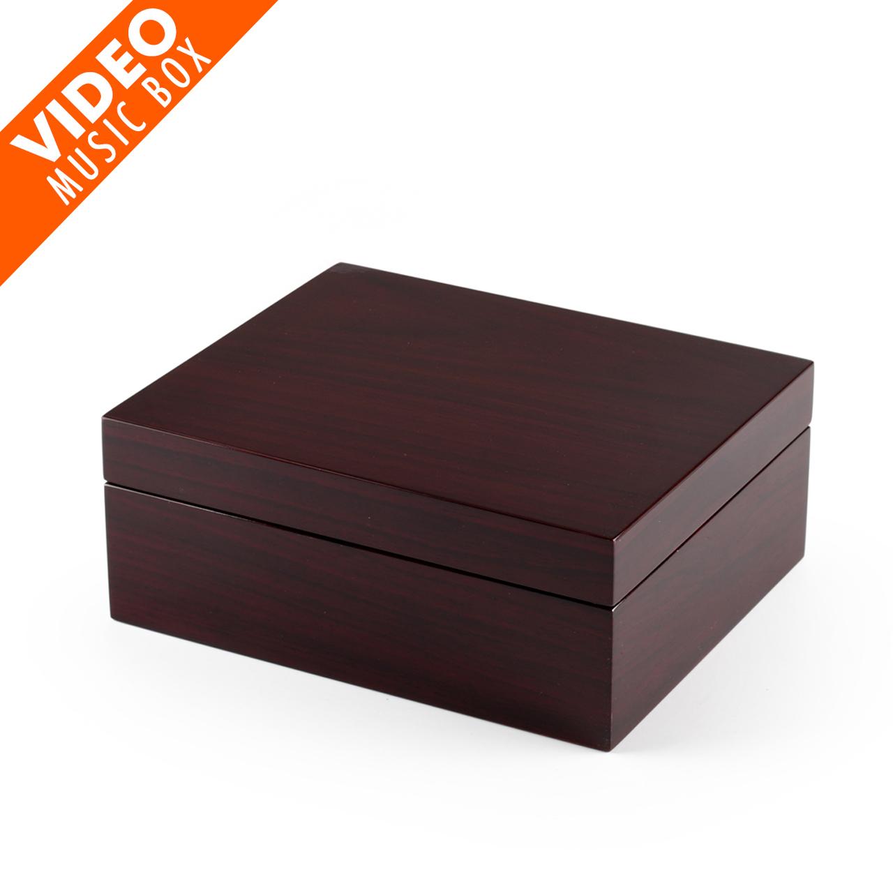 Contemporary Hi Gloss Walnut Finish 5 LCD Video Jewelry Box