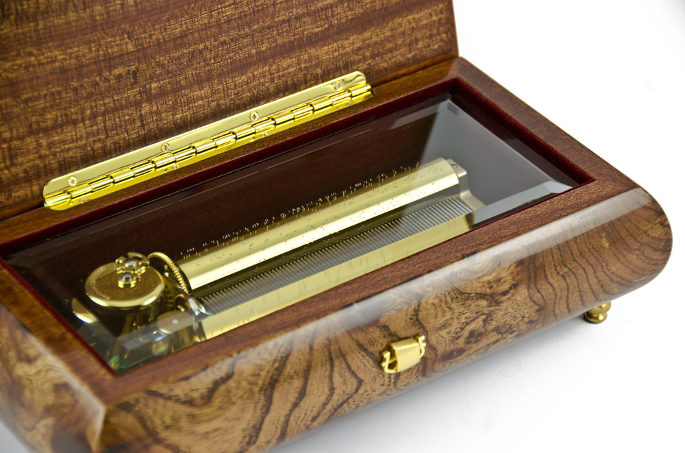 Prestigious 72 Note Sanyko Burl Walnut Beveled Glass Display Grand Music Box
