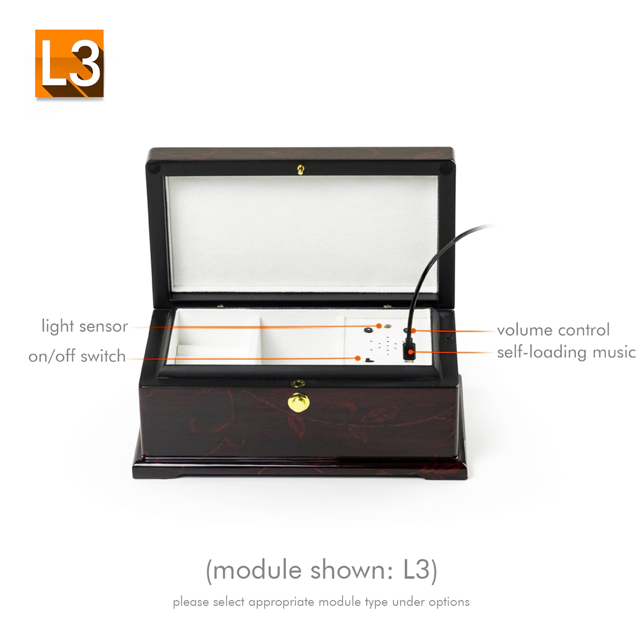 Rosewood Gorgeous Floral Motifs Custom USB Sound Module Any Song Music Box Limited SUPER Sale