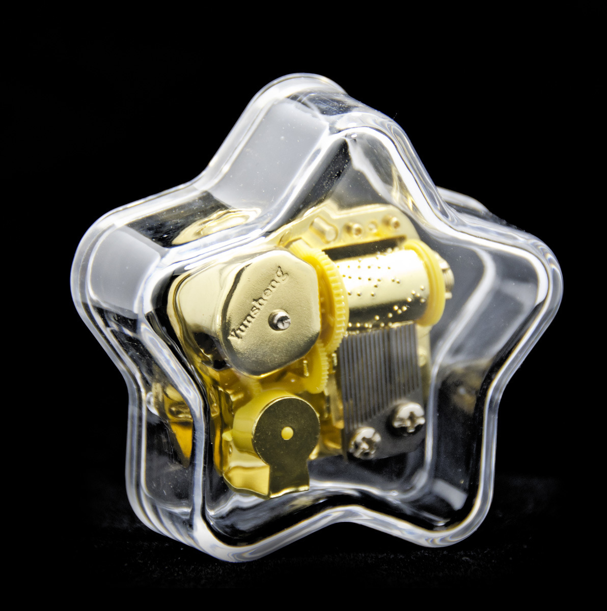 Clear 18 Note Acrylic Star Shaped Musical Paperweight