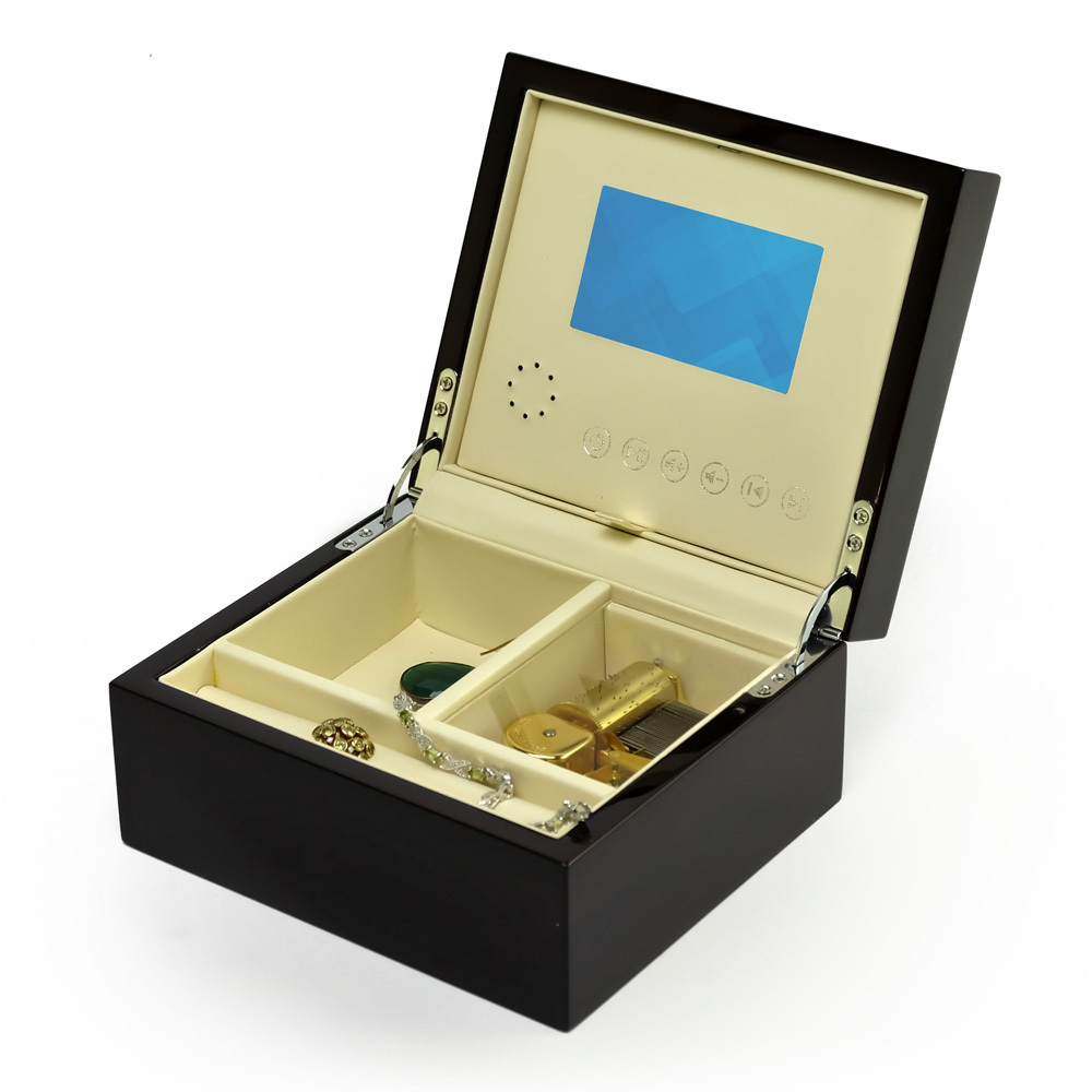 Contemporary 18 Note Hi Gloss Macassar Finish 3.6 LCD Video Jewelry Box