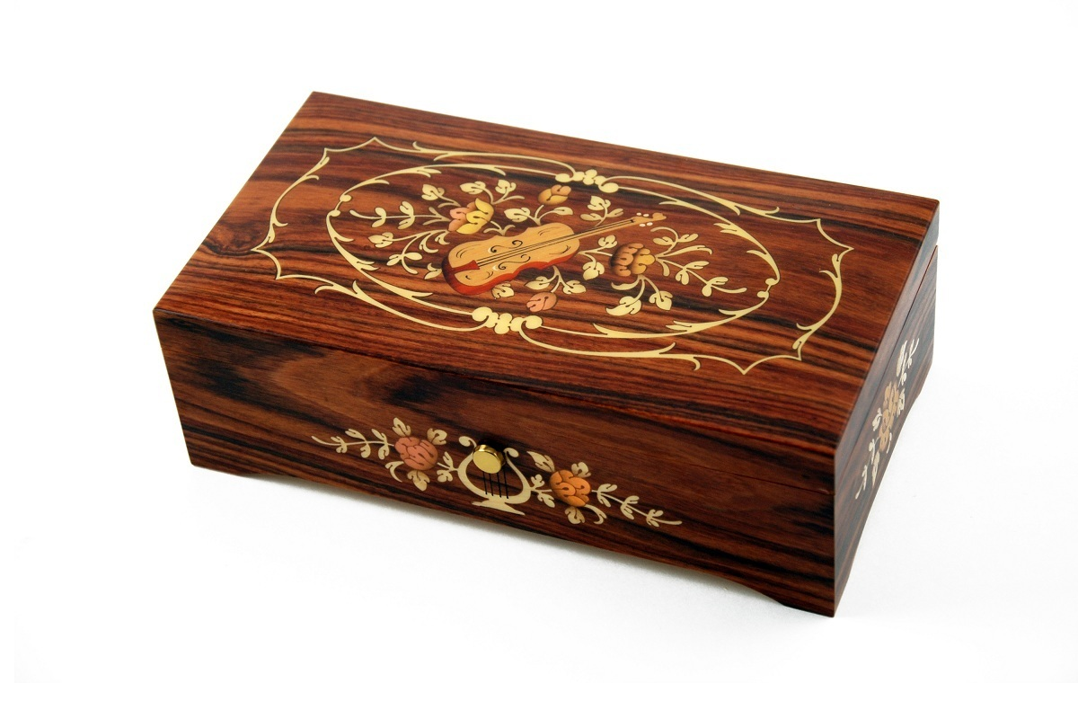 Incredible 50 Note Rosewood Music Box with Violin and Floral center in Ornament Frames Inlay