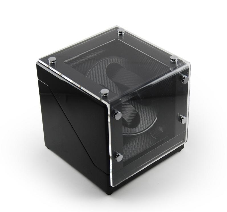 Modern Midnight Black Two Watch Winder w Carbon Fiber Interior
