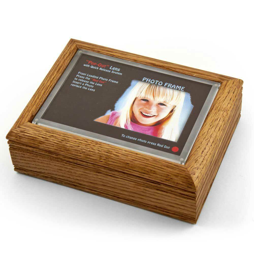 4 x 6 Oak Photo Frame Music Box with New Pop-Out lens System