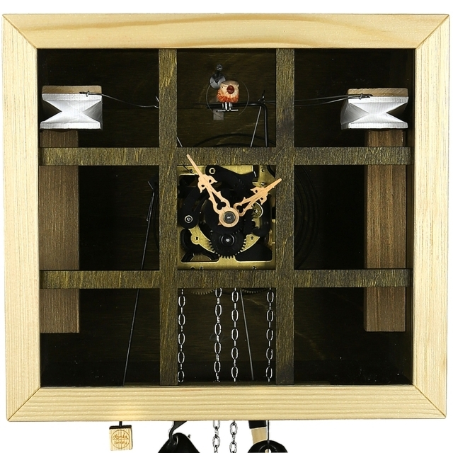Modern VDS Certified Olive and Wood Tone Glass Panel 8 Day Romba Art Cuckoo Clock by Rombach and Haas
