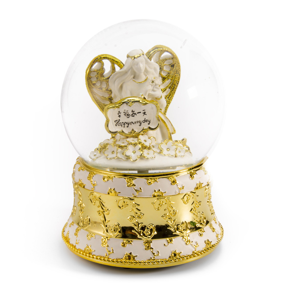 Exquisite Pearl White and Ivory with Gold Accents Angel of Peace Water Globe
