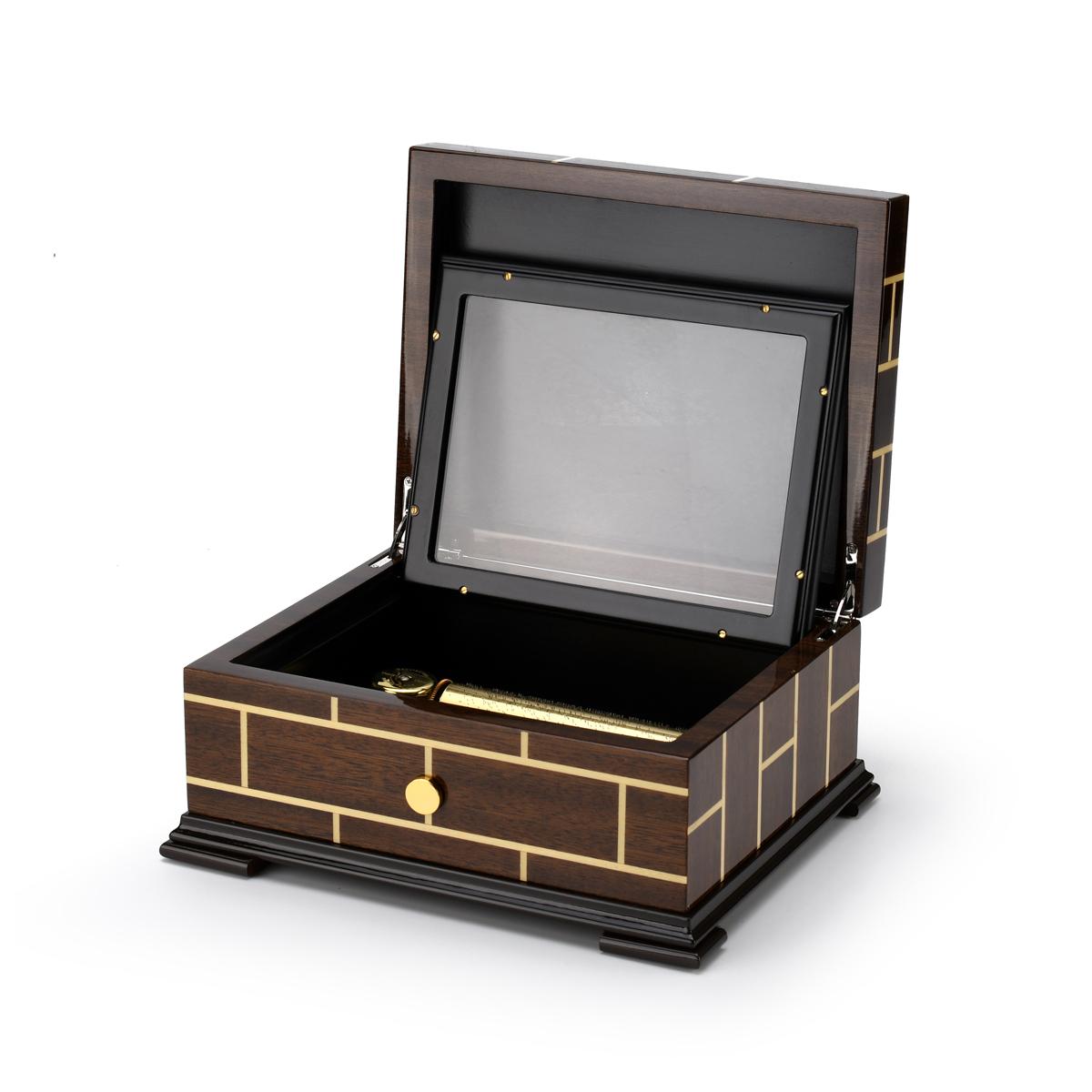 Brilliant Wood Tone Modern Masonry Design 50 Note Sankyo Music Box HUGE SPECIAL