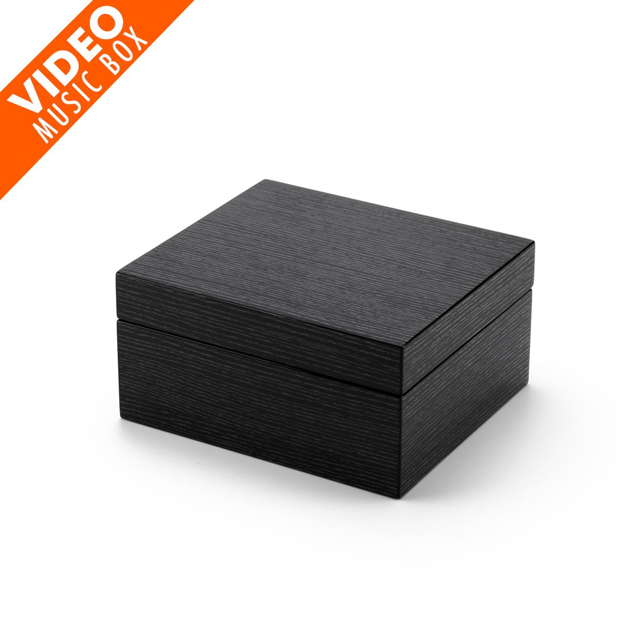 Ultra-Modern 18 Note Hi Gloss Black Apricot Finish 3.6 LCD Video Jewelry Box