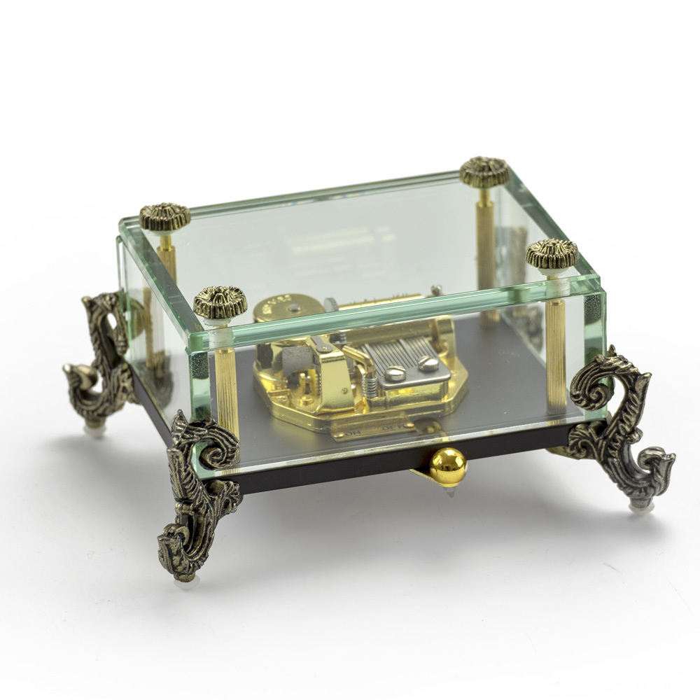 Alluring 18 Note Crystal Music Box with Detailed Dragon Feet