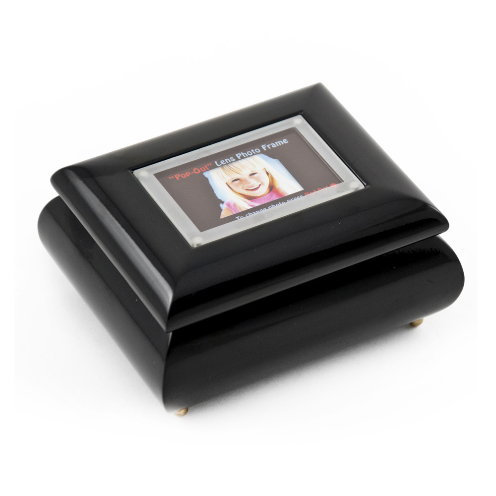 3 x 2 Wallet Size Black Lacquer Photo Frame Music Box with New Pop-Out lens System