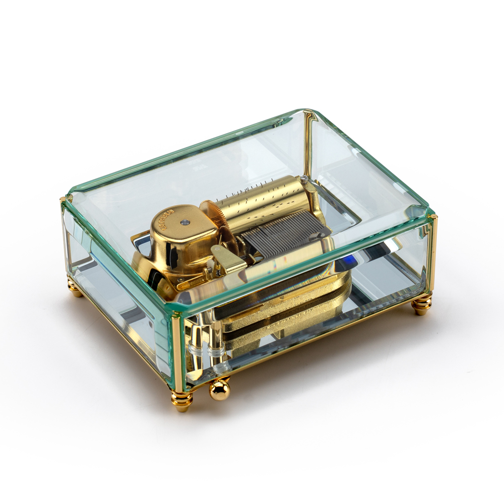 Stunning 30 Note Beveled Glass with Mirrored Base Crystal Music Box