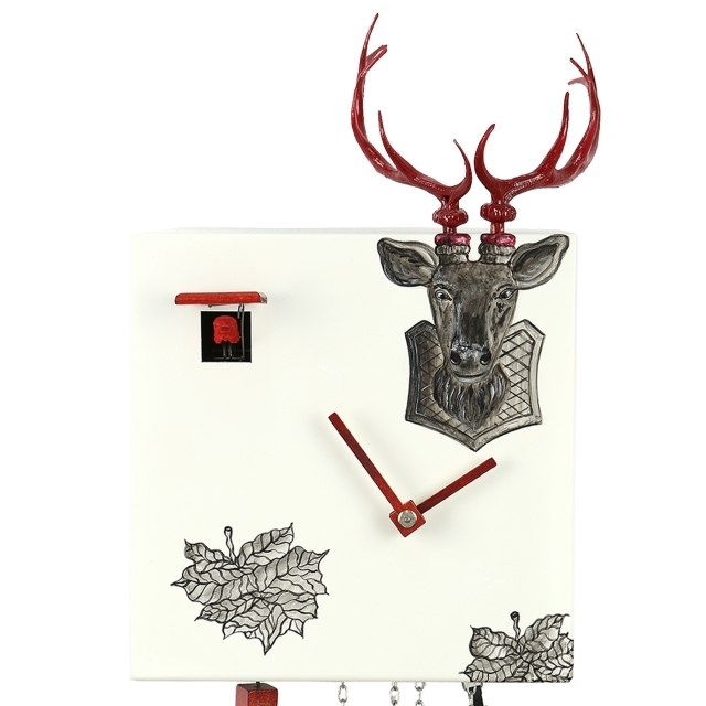 Modern VDS Certified 8 Day Black Stag Head in White with Red Accents Romba Art Cuckoo Clock by Rombach and Haas