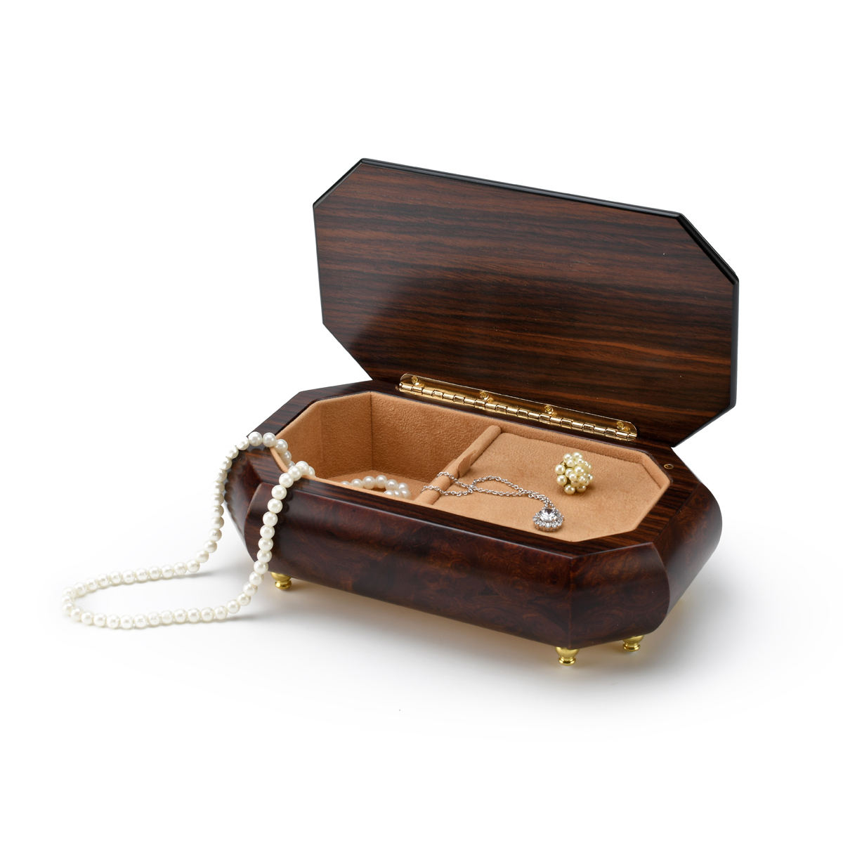 Gorgeous 18 Note Natural Wood Tone Classic Style Cut Corner Music Box