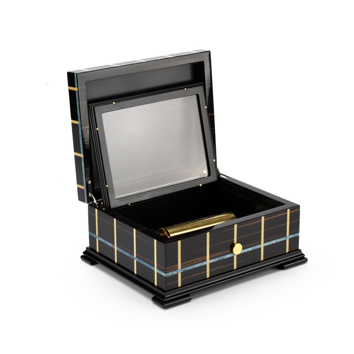Contemporary Sankyo 50 Note Italian Sorrento Music Box Modern Linear Inlay
